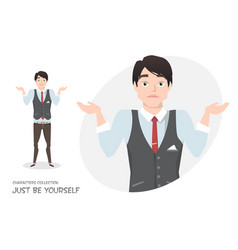 Young businessman doubt no ideas vector