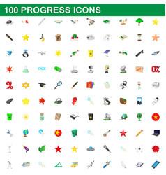100 progress icons set cartoon style vector