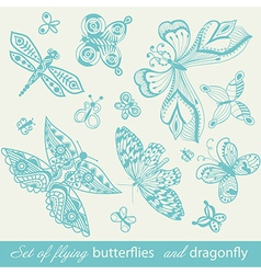 Butterfly background vintage insect set collection vector