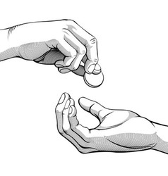 Hands Giving Receiving Coin of Money black white vector image