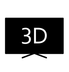 3d television silhouette icon tv video symbol vector image vector image