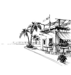 Traditional restaurant by the sea shore sketch vector