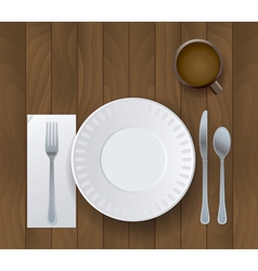 Wooden Table and Placesetting with Coffee vector image