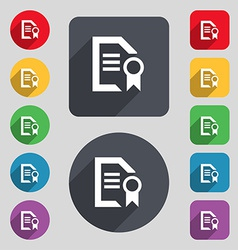 Award file document icon sign a set of 12 colored vector
