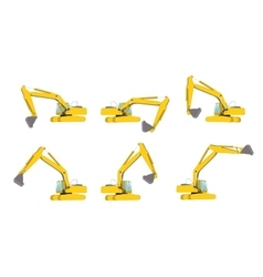 Set of excavator work isolated vector