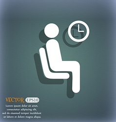 Waiting icon symbol on the blue-green abstract vector