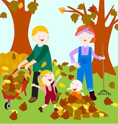 Family in fall vector