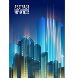 Blue city skyline at night graphical urban vector