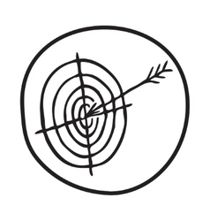 Doodle target and arrow icon vector