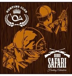 Set of Hunting Labels on wooden bakground vector image