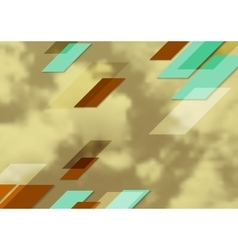 Abstract bright tech geometric design with sepia vector image