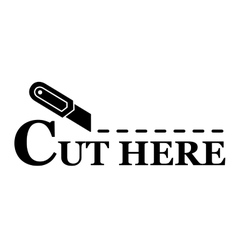 Sharp knife with cut line vector