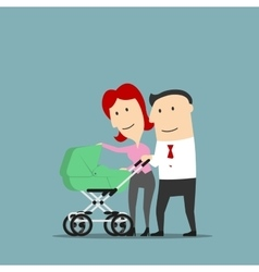 Father and mother over baby carriage vector