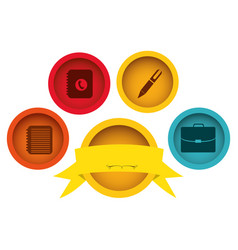 Apps technology buttons with emblem and ribbon vector