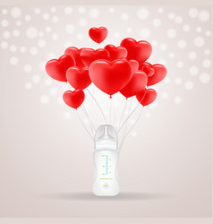 baby milk bottle with red baloons in shape of vector image vector image