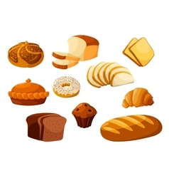 Bakery bread isolated icons vector