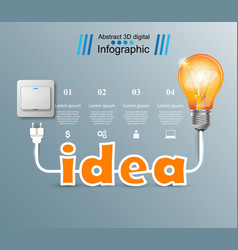 bulb light switch on off idea infographic vector image vector image