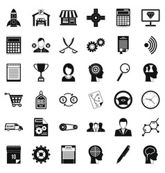 Business selection icons set simple style vector