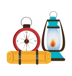 Camping lamp with compass isolated icon design vector