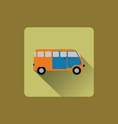 Cartoon minibus flat icon design vector