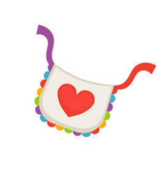 child bib with heart vector image vector image