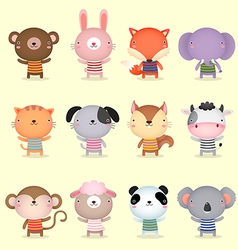 Collection of cute animals design vector image vector image