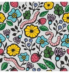 Colorful seamless background with flora and fauna vector