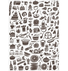 cooking and kitchen tools doodles vector image