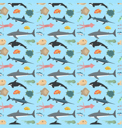 cute fish seamless pattern vector image