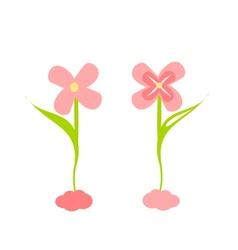 Cute flower decoration set vector