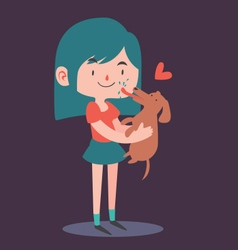 Cute Girl Holding her Dog vector image vector image