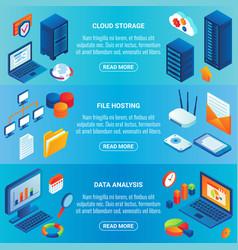 Data storage concept isometric horizontal vector
