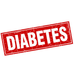 Diabetes red square grunge stamp on white vector