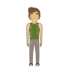 Drawing avatar man sport modern standing vector