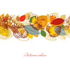 Fall seamless pattern leaves and fruits vector