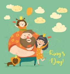 Family celebrating kings day vector