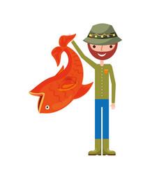 fisherman with big fish avatar character vector image vector image