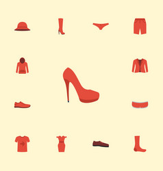 Flat icons heeled shoe swimming trunk casual and vector