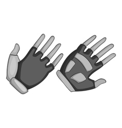 Gloves for biker icon gray monochrome style vector