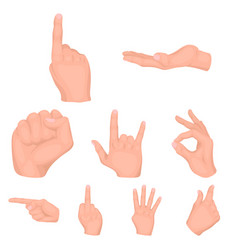 Hand gestures set icons in cartoon style big vector