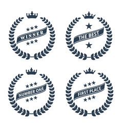 Laurel wreath icons on white background vector