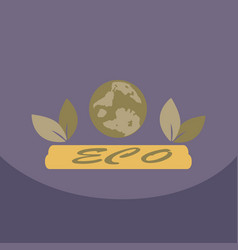 leaf in hand logo organic life symbol eco planet vector image