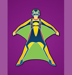 Man with wing suite extreme sport vector