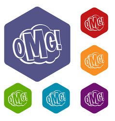 Omg comic text speech bubble icons set hexagon vector