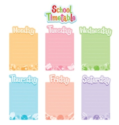 School timetable monday to saturday vector