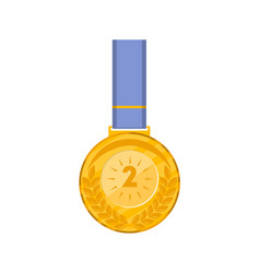 second place golden medal with blue ribbon vector image vector image