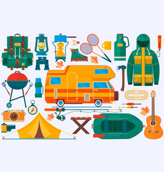 set of equipment for travel recreation adventure vector image