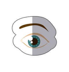 Sticker cartoon human male eye with eyebrow vector