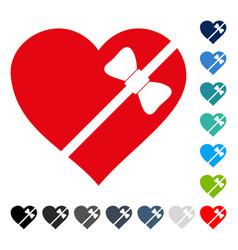 tied love heart icon vector image vector image