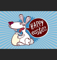 Vintage happy easter card cute bunny and hand vector image